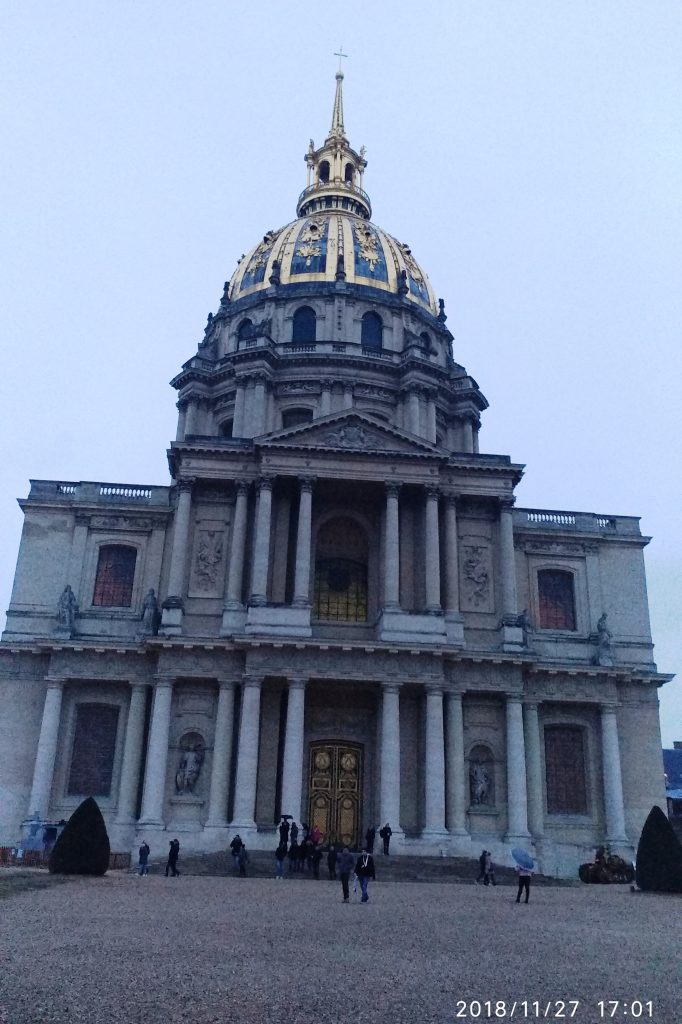The Dôme des Invalides, 107 metres (351 ft) tall and decorated with 12.65 kilograms (27.9 lb) of gold leaf, is an important landmark in Paris.